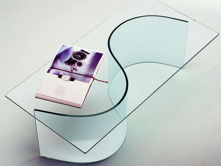 Nirvana curved glass table for living rooms INFABBRICA Sala de estarBancadas e bandejas Vidro Transparente