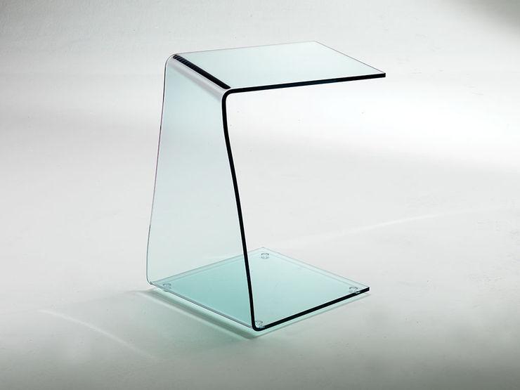 Wry little table in curved glass INFABBRICA Sala de estarBancadas e bandejas Vidro Transparente