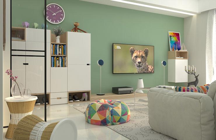 全室以純白基調提升明亮度,搭配低彩度的薄荷綠,創造出明亮純淨、同時具有沈穩感的空間基調。 雅和室內設計 客廳