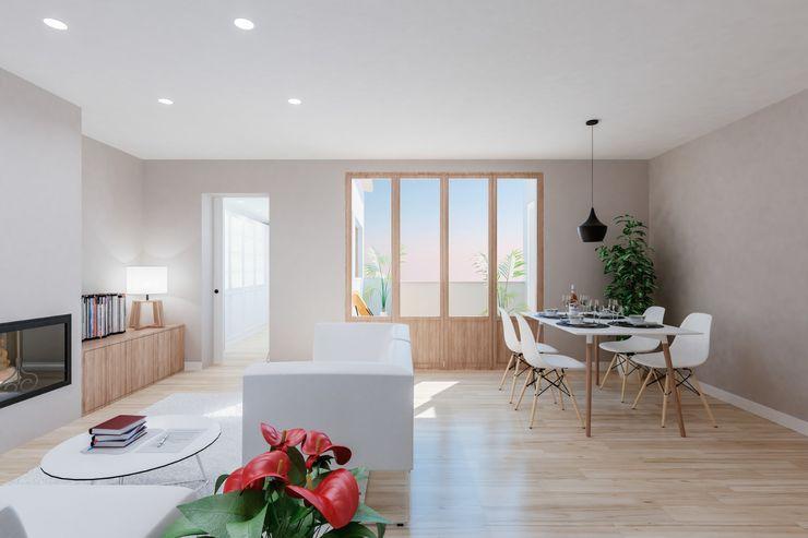 Reforma de moderno ático. Salón-comedor FOCUS Arquitectura Salones de estilo moderno Madera Beige