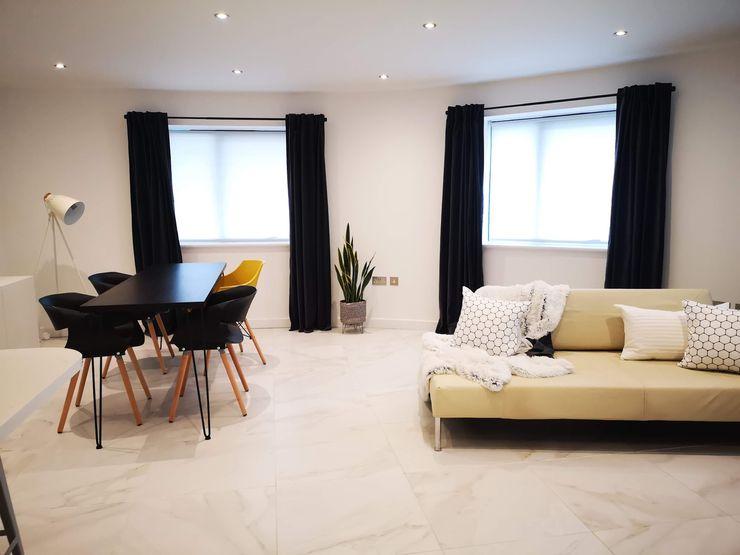 Open plan living THE FRESH INTERIOR COMPANY Salon moderne Marbre Blanc
