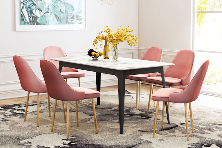 Dining Room for Vacation property rental Vivible Dining roomChairs & benches Textile Pink
