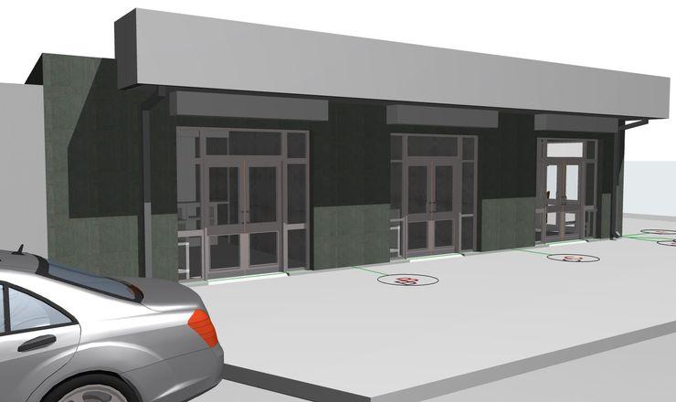ARQUITECTO CHILLAN EIRL ミニマルなショッピングセンター 金属 緑