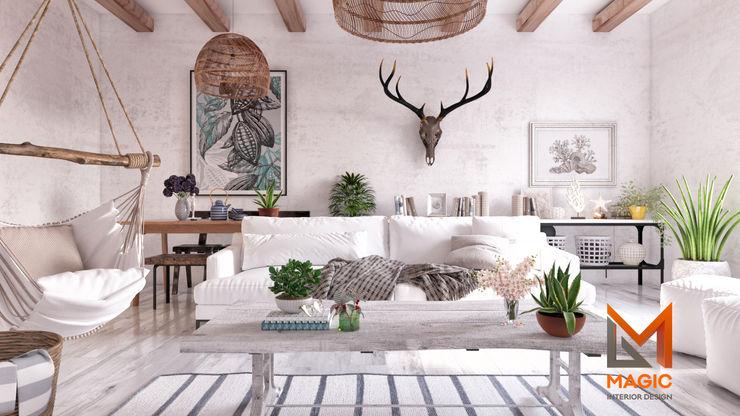 Scandinavian Magic Mimarlık İskandinav Oturma Odası Ahşap Beyaz
