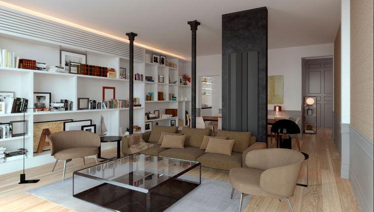 Salón , reformas, decoración, muebles, catálogo Freelance3d Salones de estilo moderno