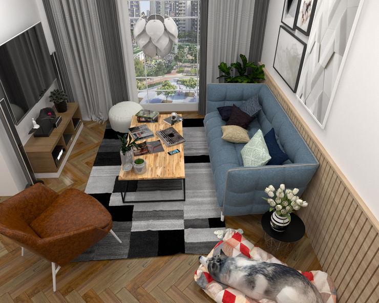 Living Room Swish Design Works Scandinavian style living room Wood effect