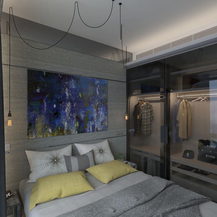 Nelson W Design Small bedroom Інженерне дерево Сірий