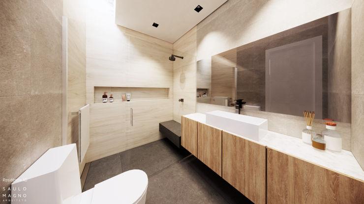 Saulo Magno Arquiteto 現代浴室設計點子、靈感&圖片 木頭 Grey