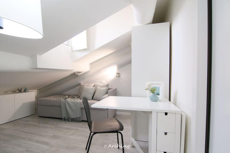 Ottocento milanese Arching - Architettura d'interni & home staging Soggiorno moderno Grigio