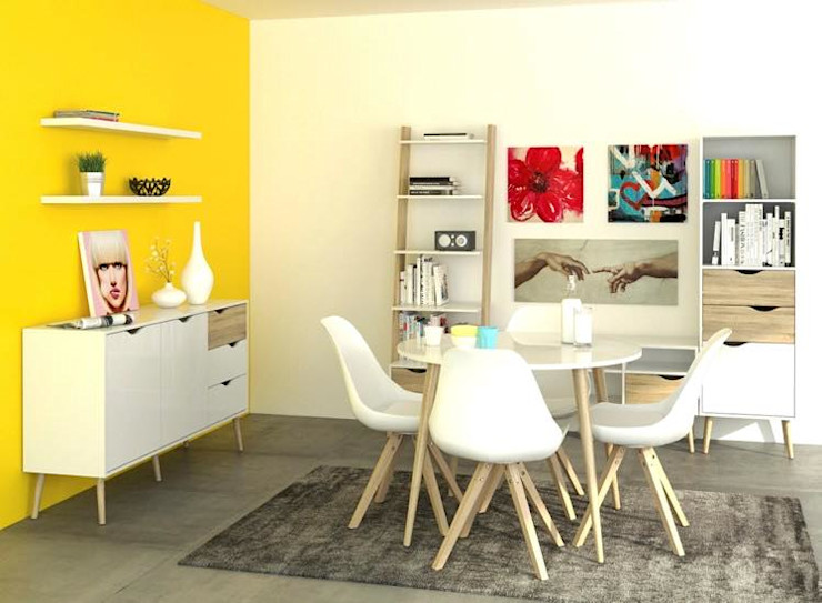 Paquete Estudio REMU Salones de estilo minimalista Madera Blanco