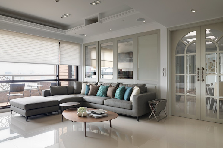 綠建材構築70坪幸福好宅 陶璽空間設計 客廳 玻璃 White