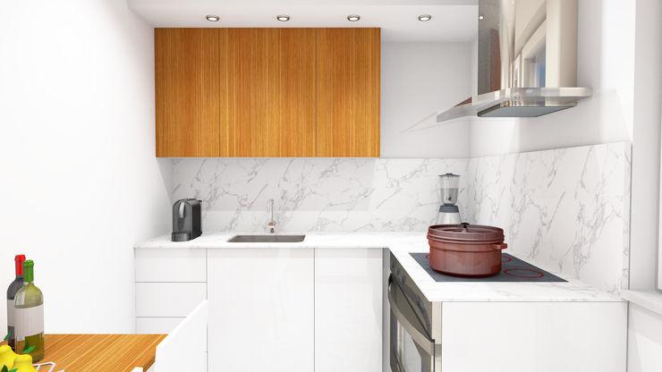 Remodelação de Cozinha Eduardo Coelho | Arquitecto Cozinhas pequenas Cerâmica Branco
