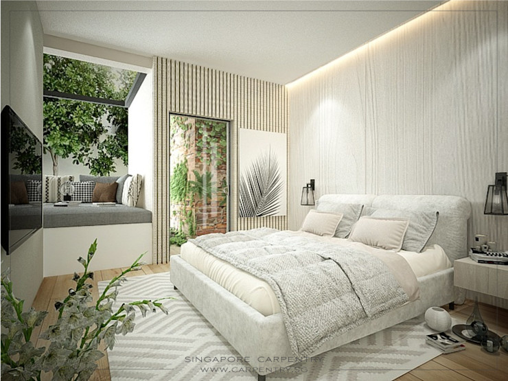 Farmhouse Styled Tranquility @ Farrer Road Singapore Carpentry Interior Design Pte Ltd Tropical style bedroom Wood White