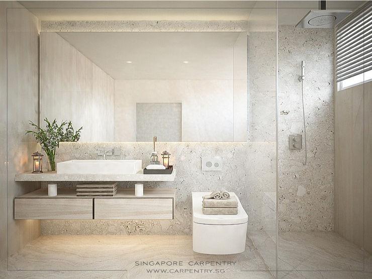 Singapore Carpentry Interior Design Pte Ltd Baños de estilo moderno Mármol Beige