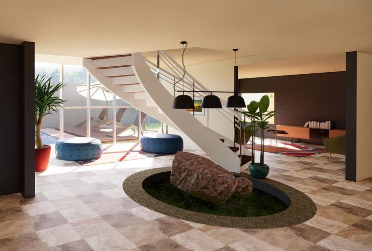 Interior de escalera, con doble altura juanbarahona_19 Escaleras Concreto Beige