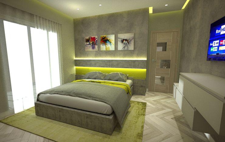 Letto con boiserie illuminata con Led Meka Arredamenti Camera da letto moderna