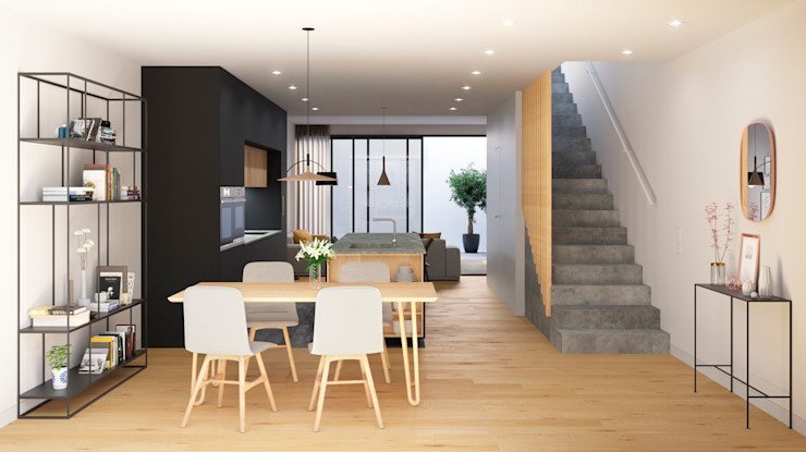 NUÑO ARQUITECTURA Modern Dining Room Chipboard Wood effect