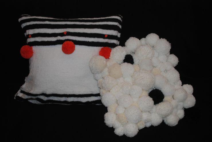 Pompón.Do | Conjunto de cojines en blanco y negro Ana Salomé Branco ArteObjetos artísticos Lana Blanco