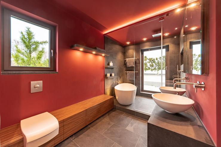 Red With Slate Vivante Modern bathroom Red