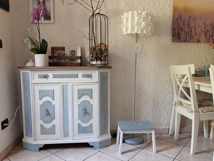 Credenza in due colori patinata Mobili a Colori Cucina attrezzata Legno Bianco