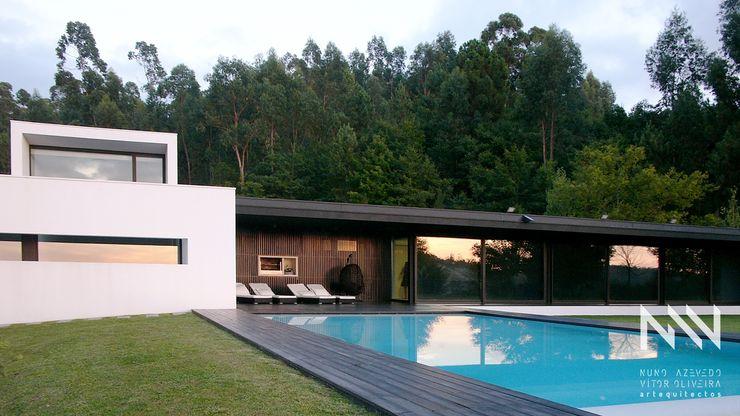 HABITAÇÃO DF ARTEQUITECTOS Casas modernas