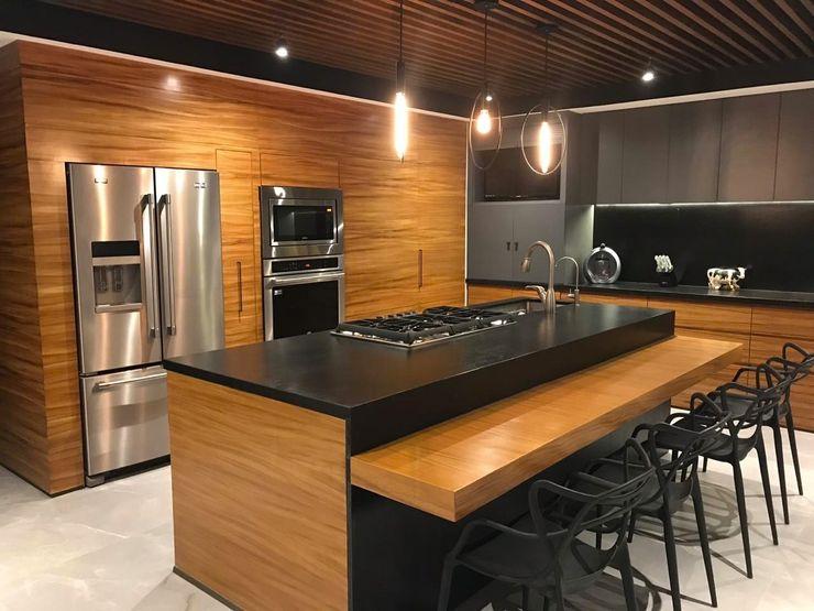 Diseño y fabricación de cocina integral WM ACABADOS + INTERIORISMO Cocinas equipadas Granito Acabado en madera