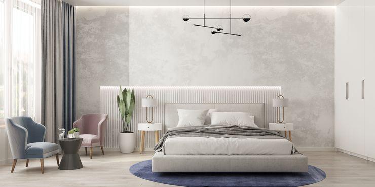 Светлая и просторная спальня с большим количеством естественного света GM-interior Спальня в эклектичном стиле Белый