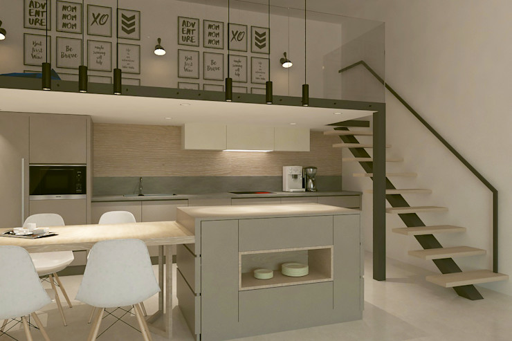 Mutfak - Balkon Kalya İç Mimarlık \ Kalya Interıor Desıgn Modern Mutfak Ahşap Ahşap rengi