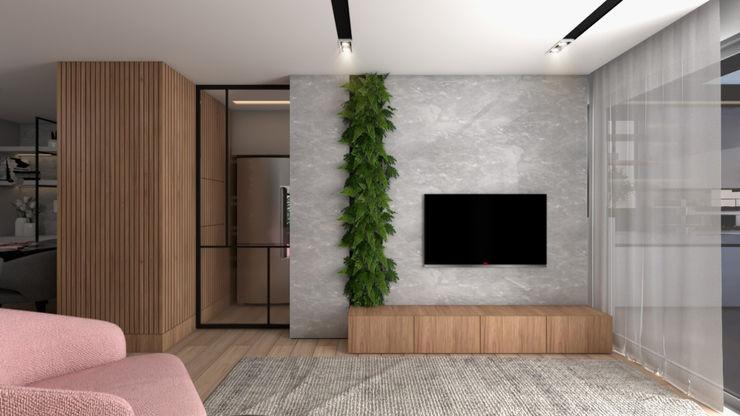 Maní Arquitetura Modern living room MDF Grey
