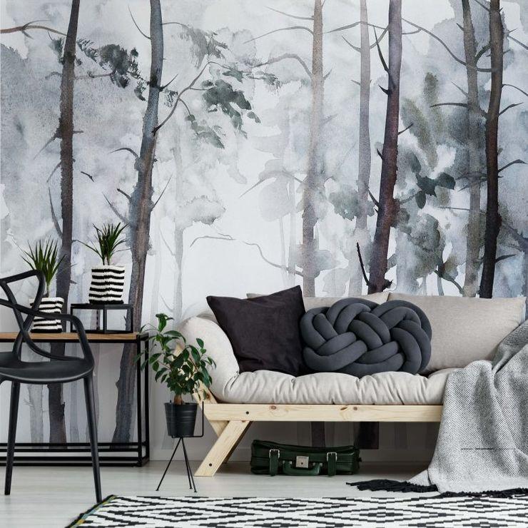 Fotomurale – Foresta in stile cquerello Wall-Art.it SoggiornoAccessori & Decorazioni Bianco