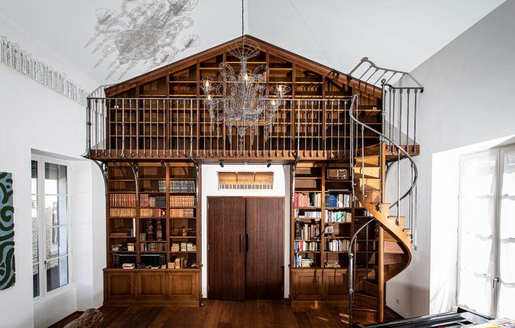 Bibliothèque monumentale réalisée sur mesure julien lachaud ébéniste Salon classique Bois