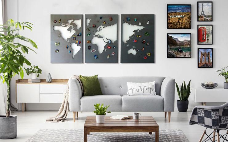 Planisfero da parete magnetico WORLD NIKLA STEEL DESIGN SoggiornoAccessori & Decorazioni Ferro / Acciaio