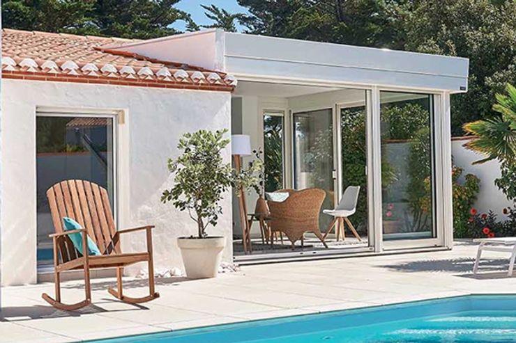 Véranda Gustave Rideau Mediterranean style living room Aluminium/Zinc White