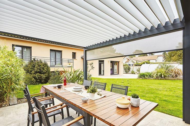 Véranda Gustave Rideau Modern balcony, veranda & terrace Aluminium/Zinc Grey