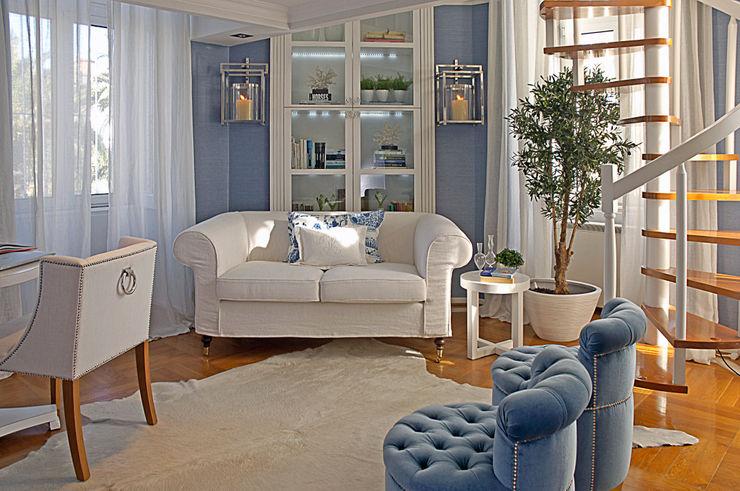 Sala azul Margarida Bugarim Interiores Salas de estar modernas Azul