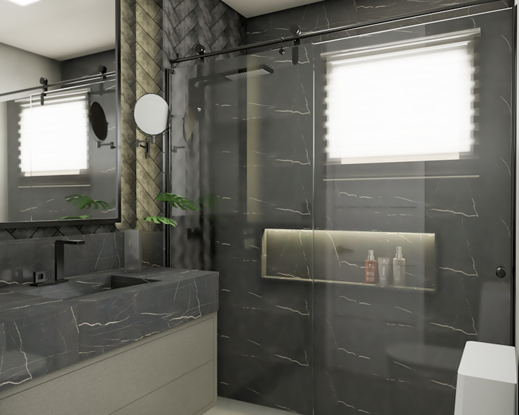 AJP ARQUITETOS ASSOCIADOS BathroomFittings Marble Black