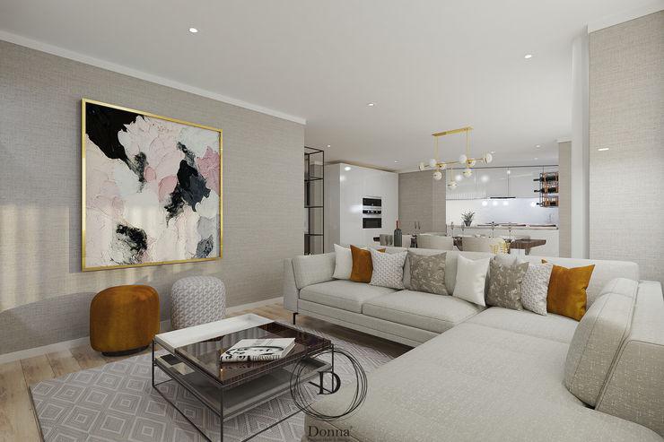 Apartamento Pinhais da Foz Donna - Exclusividade e Design Salas de estar modernas