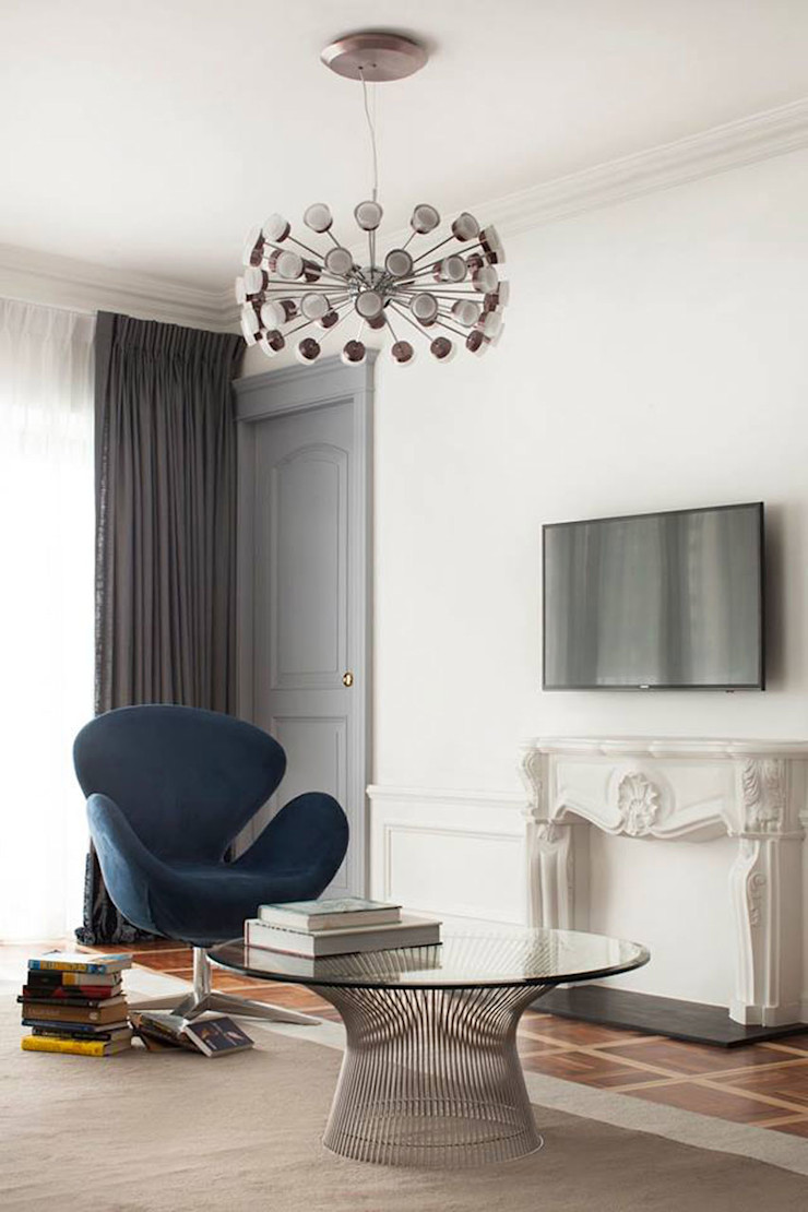 Sophisticated French interiors -A flair of pared back, refined yet effortless.... JC Vision Modern living room Wood Grey