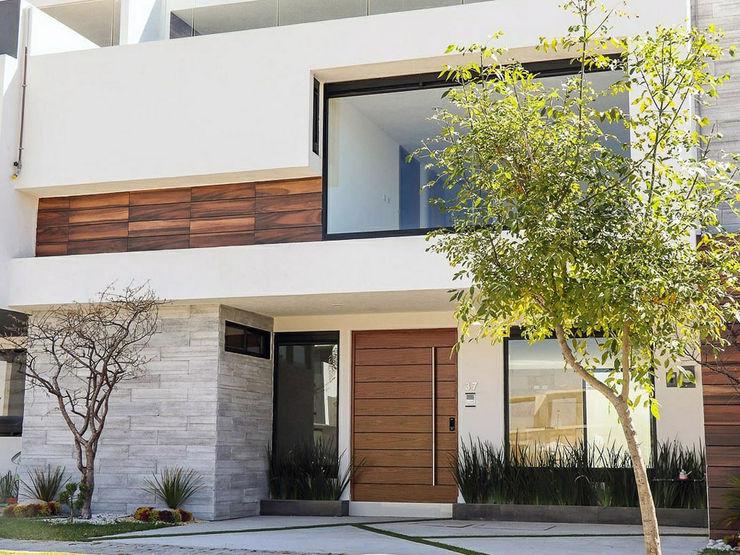 Fachadas de casas modernas minimalistas · Linea ELIXIO · 2 y 3 pisos con Roof Garden Zen Ambient Casas minimalistas