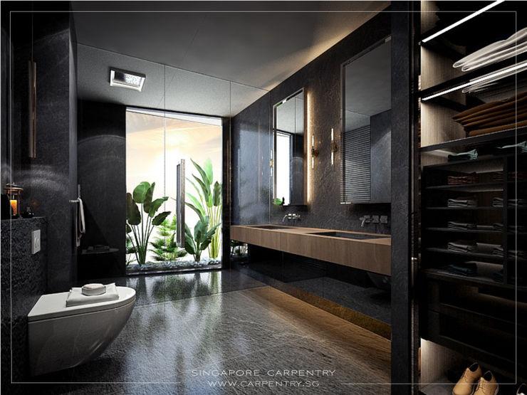 Swanky Luxury @ Keppel Bay Condominium Singapore Carpentry Interior Design Pte Ltd Modern bathroom Marble Grey