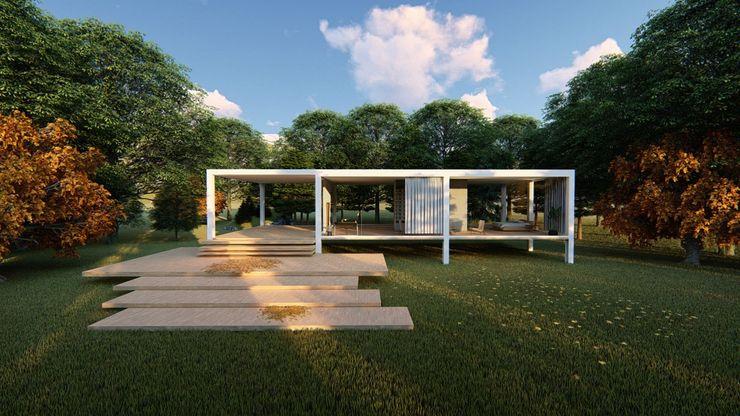 Fachada principal V&V Design and Engineering Casas pequeñas Concreto Blanco