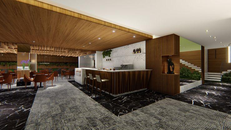 COFFEE   LOBBY Arquitetura Sônia Beltrão & associados Hotéis modernos MDF Efeito de madeira