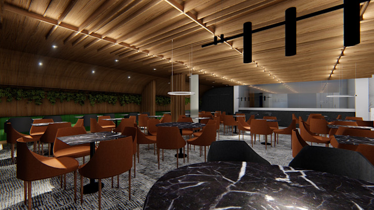 RESTAURANTE   LOBBY Arquitetura Sônia Beltrão & associados Hotéis modernos MDF Efeito de madeira