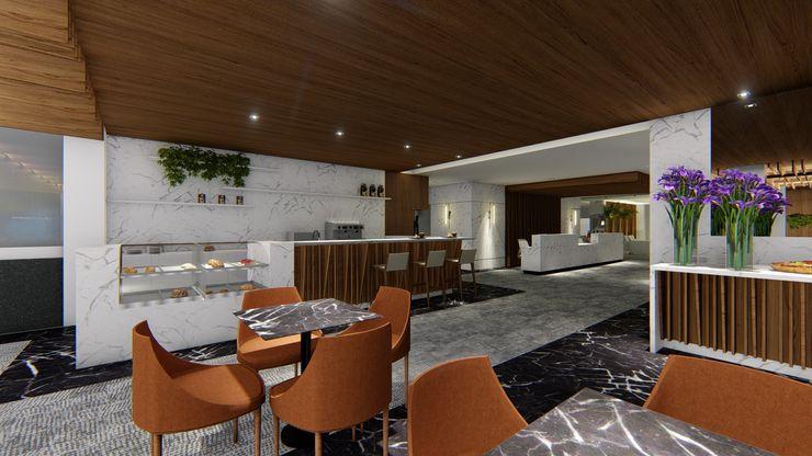 RESTAURANTE   COFFEE   LOBBY Arquitetura Sônia Beltrão & associados Hotéis modernos MDF Efeito de madeira