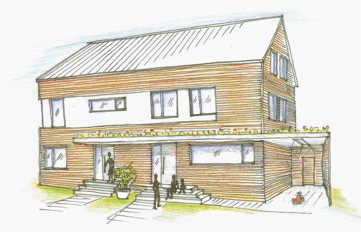 Skizze des fertigen Hauses Thümer Holzbau Architektur Einfamilienhaus Holz Braun