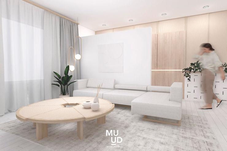 MUUD Interiorismo Salas de estar escandinavas Madeira Branco