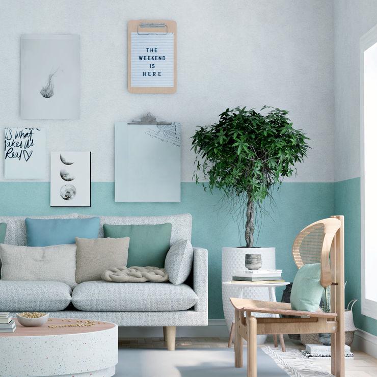 Lv interiores Salones de estilo tropical Madera Verde