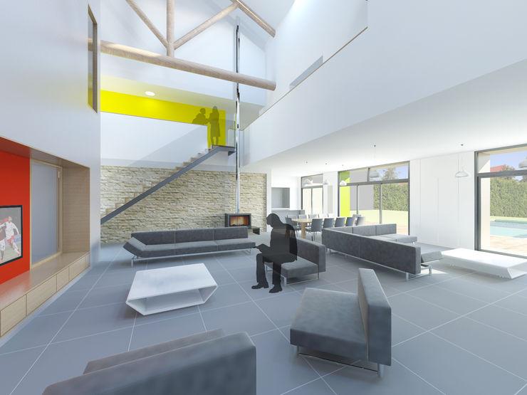 Vue d'ambiance de l'espace de vie dans l'ancienne grange 3B Architecture