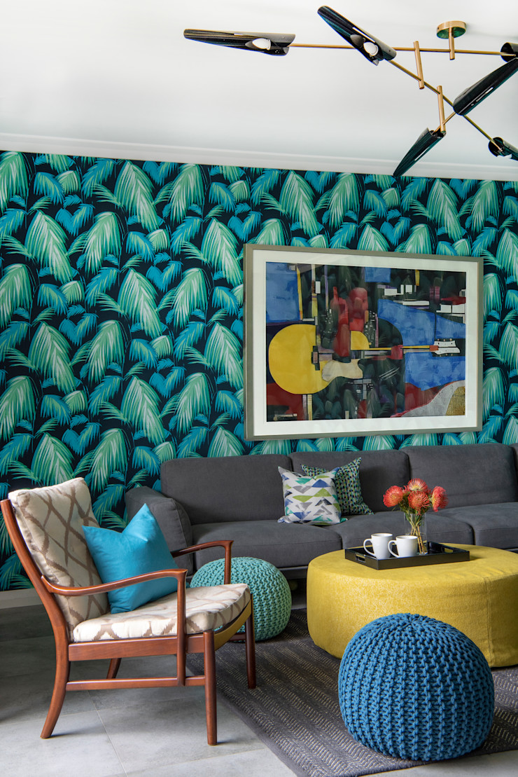 Colourful Mid-century Style Family Room Design Intervention Modern Living Room