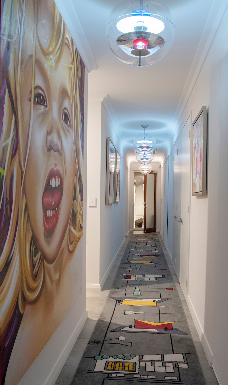 Mid-century Long Corridor Design Design Intervention Modern Corridor, Hallway and Staircase
